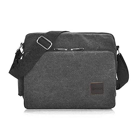 Messenger Bag, GSTEK Unisex Vintage Canvas Messenger Bags Casual Sling Shoulder Pack Daypack Satchel Bag for Work, School, Daily Use - 11.8