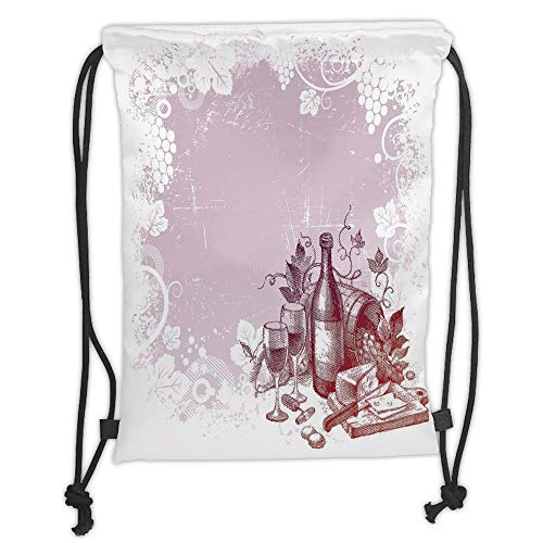 ZKHTO Drawstring Sack Backpacks Bags,Wine,Grunge Abstract Frame Bunch of Grapes Leaves Country Drinks Food Picnic Concept Decorative,Lilac and White Soft Satin,5 Liter Capacity,Adjustable STR