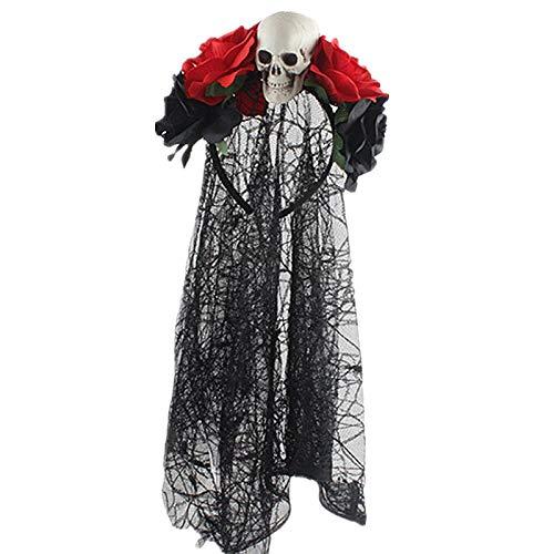 Kostüm Frida - TOOGOO Tag der Toten Stirnband Braut Schleier KostüM Halloween Zubeh?R Rose Blumen Krone (C Schwarz + Rot + Sch?Del)