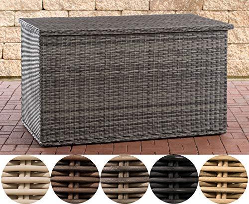 CLP Polyrattan Auflagenbox Comfy 5mm I Gartentruhe Für Kissen Und Auflagen I Kissentruhe Mit Dämpfer 125, Grau Meliert