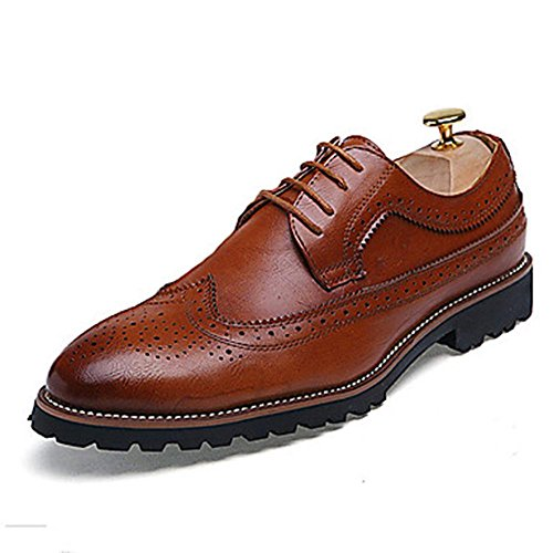 WZW-Mens-Oxfords-Spring-Summer-Fall-Winter-Other-Leather-Wedding-Office-Career-Party-Evening-Flat-Heel-Lace-up-Black-Brown-Red-Other