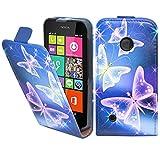 Nokia Lumia 530 Premium Leder Flip Case - Blau