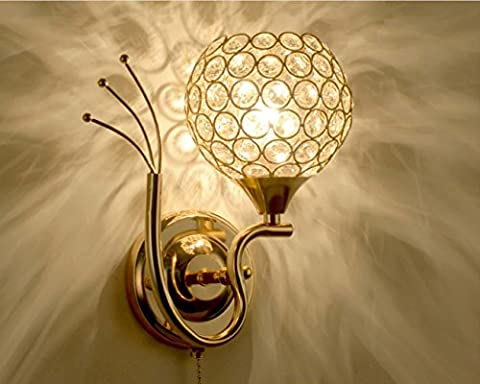 Round wall lamp LED bedroom bedside crystal lamp modern simple
