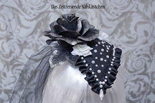 Fascinator, Kopfschmuck, schwarz-weiß mit Perlen, Rosen, Spitze und Tüll, Gothic, Lolita (Perlen Taft)