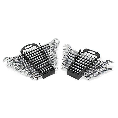 COM-FOUR® Jeu de 20 clés combinées en acier au chrome-vanadium selon DIN 3110 et DIN 3113, dimensions de 6 mm à 22 mm (20 pièces - bague et combinaison de clés)