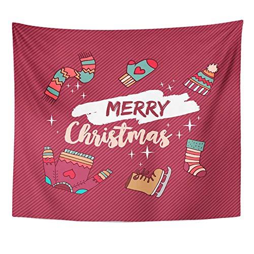 Wandteppich Polyester Stoff Drucken Home Decor Frohe Weihnachten Winter umfasst hässliche Pullover Schlittschuh Hut und Socken Urlaub Wandbehang Tapisserie für Wohnzimmer Schlafzimmer Schlafsaal
