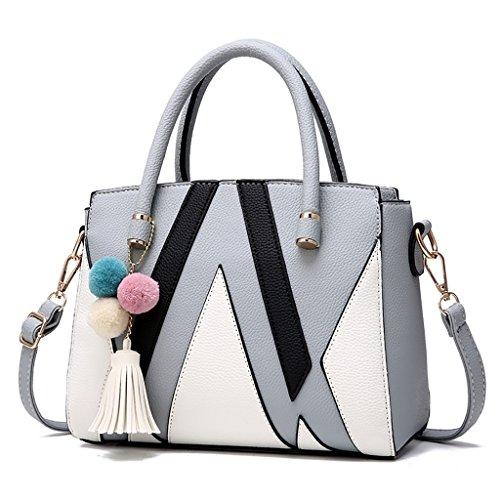 CLOTHES- Borsa della signora coreana di versione della borsetta selettiva della borsa del messaggero semplice della spalla Atmosfera borsa della signora matura ( Colore : Light pink ) Grigio