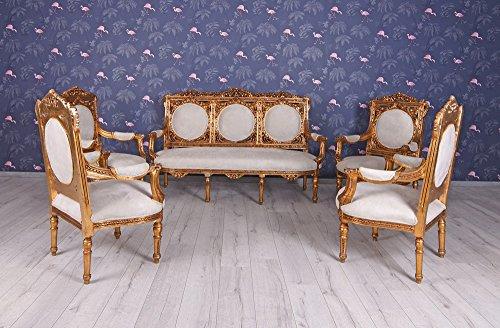 Salon Sitzgruppe Barock Sitzgarnitur Couchgarnitur Sofagarnitur 4 Sessel Sofa Palazzo Exklusiv