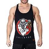 SMILODOX Tank Top Herren | Muskelshirt mit Aufdruck für Sport Gym Fitness & Bodybuilding | Muscle Shirt mit Aufdruck - Unterhemd - Achselshirt - Trainingshirt Kurz, Farbe:Schwarz, Größe:S