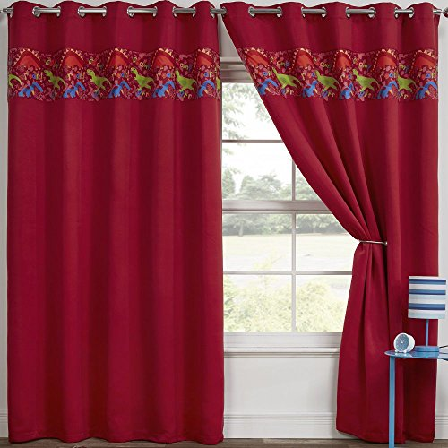 Tony's Textiles Dinosaur Design Childrens Eyelet Ring Top Thermal Blackout Curtains Red (66″ Wide x 72″ Drop)