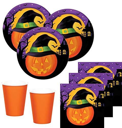 32 Teile kleines Fingerfood Halloween Deko Set lustiger Kürbiskopf 8 Kinder