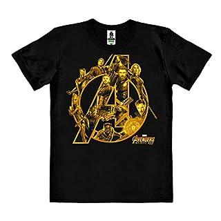 Logoshirt Film - Marvel Comics - Superheroes - Avengers - Infinity War - Organic Cotton Easy Fit T-Shirt - Black - Original Licensed Product, Size L