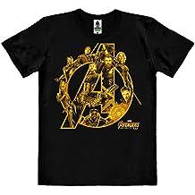 Logoshirt Pelicula - Marvel Comics - Superhéroes - Los Vengadores - Infinity War - Camiseta 100% Algodón Ecológico (Cultivo Ecológico) - Negro - Diseño Original con Licencia
