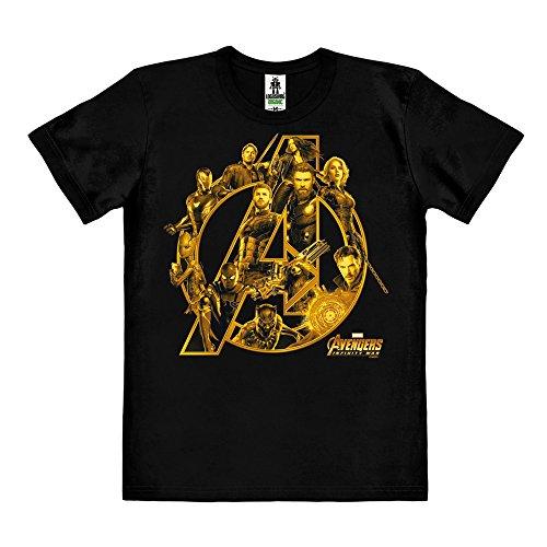 Logoshirt Film - Marvel Comics - Superheldenteam - Avengers - Infinity War - T-Shirt Organic Herren - Schwarz - Bio Baumwolle - Organic Cotton - Lizenziertes Originaldesign, Größe XL (Die Avengers Tshirt)
