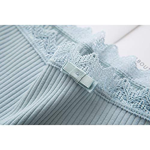 Haodou String mit Spitze Damen Unterhose Baumwolle Unterwäsche Reizvolle Wäsche durchsichtige Tanga G-Schnur Schlüpfer Damenwäsche Dessous Länge 21cm (hellgrün) - 2