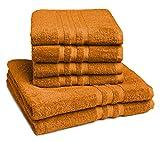 Castell by sleepling Handtuch set (4 x Handtuch 50 x 100 cm, 2 x Duschtuch 70 x 140 cm) 100% Baumwolle, terra