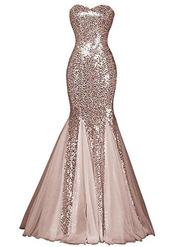 Azbro Women's Glamour Sweetheart Sequin Mermaid Long Prom Dress Dusty Pink