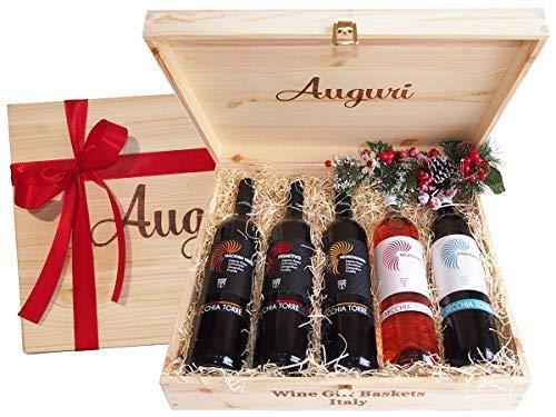 Cassetta Regalo Auguri Migliori Vini Pugliesi più Famosi - Idea Regalo per Amanti dell'Ottimo Vino Pugliese - cod 75