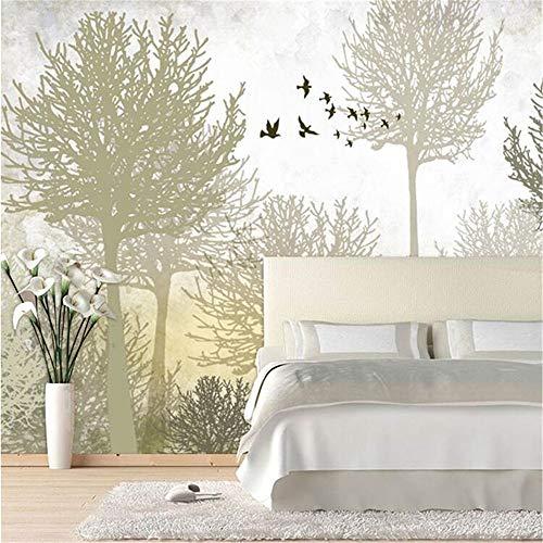REAGONE Fototapete Hochwertige Seide Tuch Tapete∕Wohnzimmer Zurück Schlafsofa Tv Wand Retro Minimalistischen Woods Großes Wandbild Wand Papier,400X280 Cm (157.5 By 110.2 In)