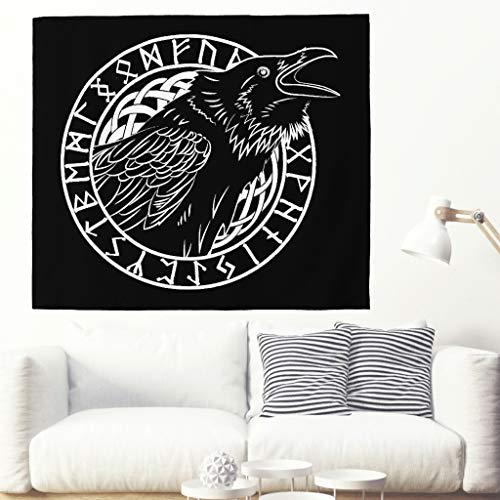 Tapiz de pared con diseño de cuervo étnico negro con runas escandinavas, calavera tradicional, cráneo celta, runa vikinga, tättoo, tapiz, mural nórdico mitología, decoración de pared 230x150cm blanco