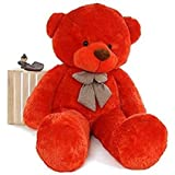 #9: HOLME'S Soft Teddy Bear Birthday Gift for Girlfriend/Wife Happy Birthday Teddy Soft Toy 3 Feet Long Red (92cm)