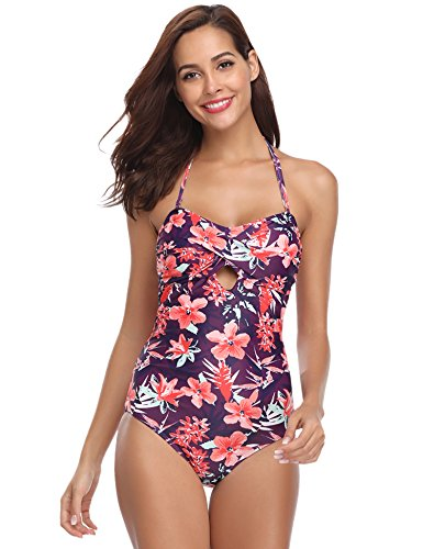 Hawiton Damen Foral Badeanzug Einteiler Neckholder Retro Bikini Monokini Swimanzug Bademode Swimsuit für Sommer Violett M