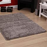 "Shaggy Rug Grey Silver 963 Plain 5cm Thick Soft Pile 80cm x 150cm (2ft 6"" x 5ft 0"") Modern 100% Berclon Twist Fibre Non-Shed Polyproylene Heat Set - AVAILABLE IN 6 SIZES by Quality Linen and Towels"