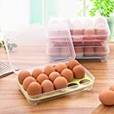Egab Egg Storage Box Container with 15 Grid Egg Tray