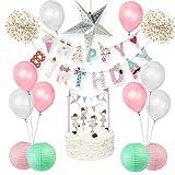 Easy Joy Decoración Rosa para Cumpleaños de Bebé, Deco con Globos y Topper para Pastel, Decoración Interior para NiñAs, Rosa