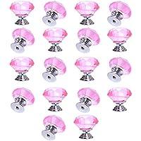 yazer 18x 30mm cristallo vetro diamante le maniglie di casa armadio mobili Pomelli per Cassetti + Viti per l' interno casa decorazione e DIY Decorazione, Rosa