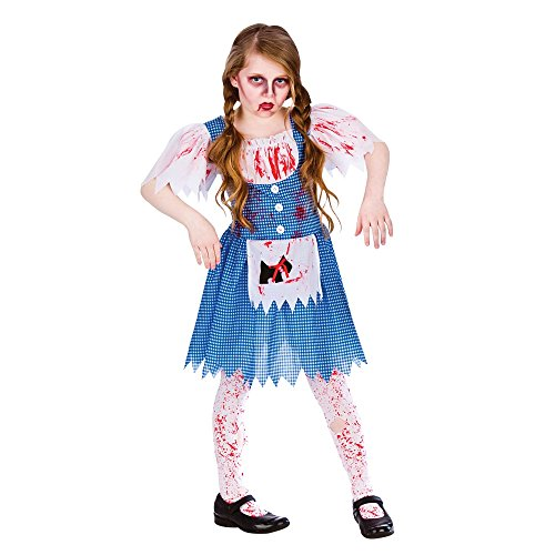 GIRLS BLUE/WHITE ZOMBIE DOROTHY COUNTRY GIRL HALLOWEEN FANCY DRESS COSTUME