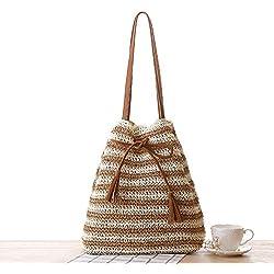 Mode Striped Stroh Tasche PU Quasten Strand Sommer Urlaub Gewebt Handtaschen