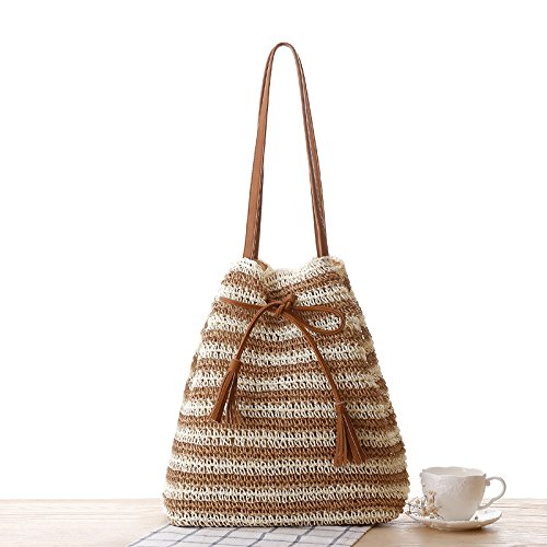 Mode Striped Stroh Tasche PU Quasten Strand Sommer Urlaub Gewebt Handtaschen -