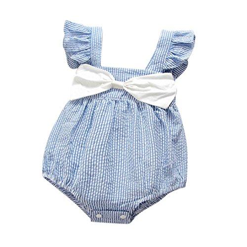 Baby Girls Conjoined, Yannerr weiblich Baby Striped Strap Schmetterling Knoten Lotus leaf Side Klettern Kleidung (12M, Hellblau)