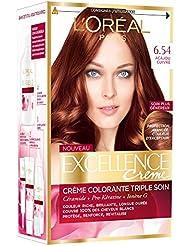 L'Oréal Paris - Excellence Crème - Coloration Permanente Triple Soin 100% Couverture Cheveux Blancs - Nuance 6,54 Acajou Cuivré - Lot de 2