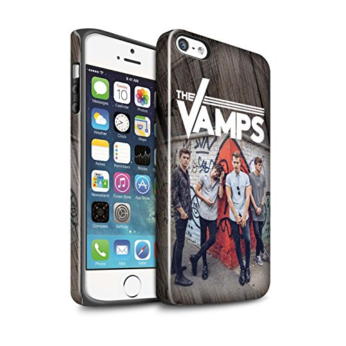 Officiel The Vamps Coque / Brillant Robuste Antichoc Etui pour Apple iPhone SE / Pack 6pcs Design / The Vamps Séance Photo Collection Effet Bois