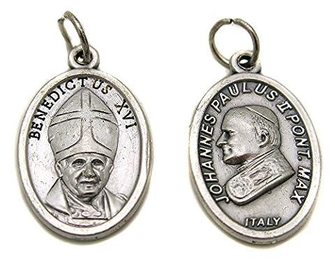 Pendentif medaille medaillon pape jean paul 2 benedict 16