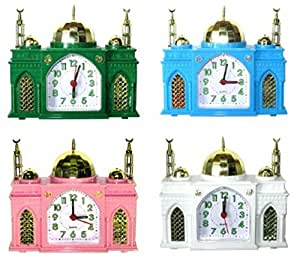 """Réveille-matin - en forme comme une Mosquée - sonne """"Azan"""" Appel Islamique à la Prière - Horloge Musulman. Ensemble de 4 - Blanc + bleu + vert + rose"""
