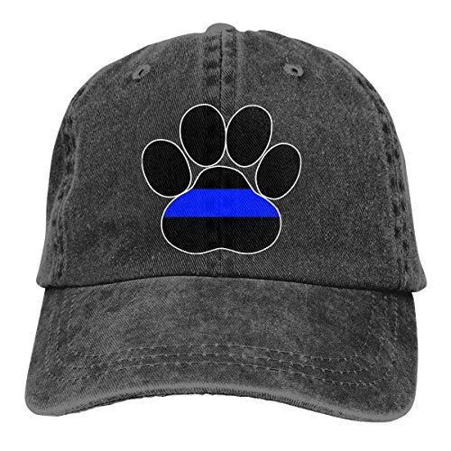 Hoswee Unisex Kappe/Baseballkappe, Thin Blue Line K-9 Paw Men/Women Washed Adjustable Baseball Cap Jeanet Back Closure Plain Hat -