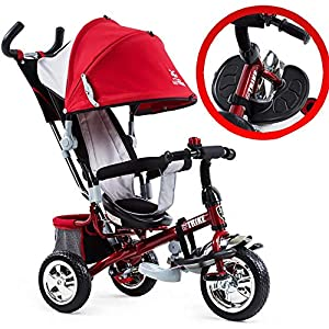 Tricycle Children's Trike with Sun Canopy and Removable Parent Handle Buggy Stroller Fit from 6 Months to 6 Years Boys and Girls Colour Choice,Red   4