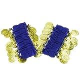 TOOGOO(R) 1 Paar Bauchtanz tragen Armbaender Wrist Ankle aermeln glaenzende Perlen Goldmuenzen - dunkelblau