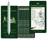 Faber-Castell 119065 - Bleistift CASTELL 9000, 12er Art Set, Inhalt 8B - 2H im Set mit passendem Faber Castell 122780 Papierwischer (Estompe)