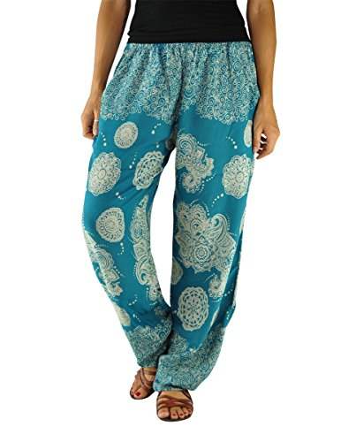 virblatt – Yogahose Haremshose Damen Ballonhose Yoga Kleidung - Gemütlich Indian petrol