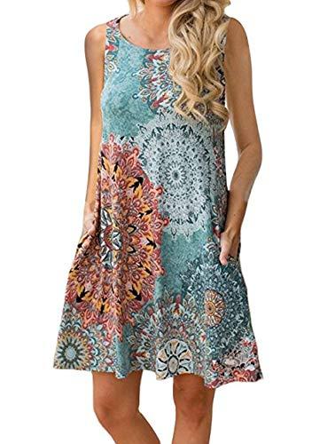 OMZIN Damen Oversized Tank Shirt Kleid Casual Swing Leger Kleid lose Swing Flowy Kleid,Blau,L (Frauen-mantel-kleid)