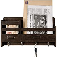 Mkouo wall mail sorter organizer is great for holding and sorting in-going or out-going mail, organizing letters, bills, catalogs, magazines, keys, leashes, hats, umbrellas,wallet, accessories and more; The rustic design will add a touch of style to ...