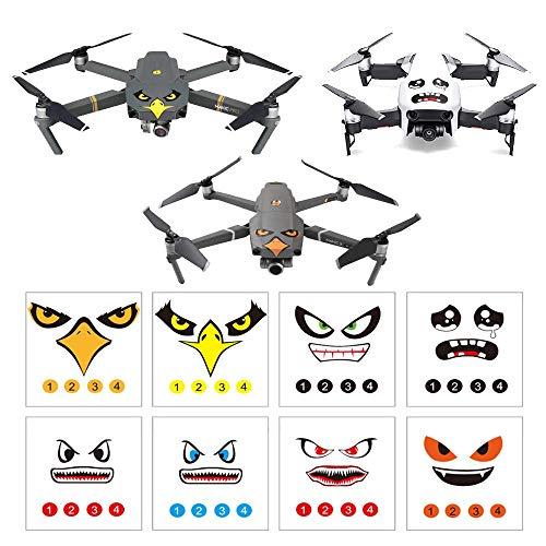 Linghuang Set Adesivi 3M Drone Decals Espressione facciale Skin Compatibile DJI Mavic 2 PRO / Zoom Mavic PRO Platinum / PRO Mavic Air Evitare Gli Uccelli Scontrarsi, 8 Stili