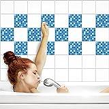 Fliesenaufkleber für Küche und Bad | Fliesenfolie für 15x15cm Fliesen | Mosaik Ozean glänzend | 102 Stück | Klebefliesen günstig in 1A Qualität von PrintYourHome