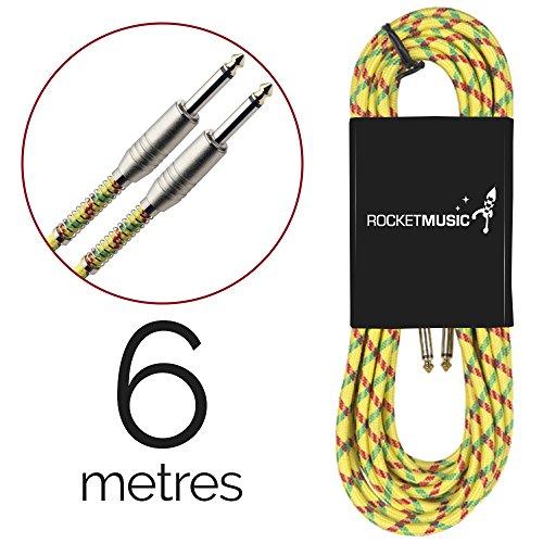 Rocket GCJJV600YW Pro-Series - Cable para instrumento (6 m, revestido en tweed), diseño vintage, color amarillo