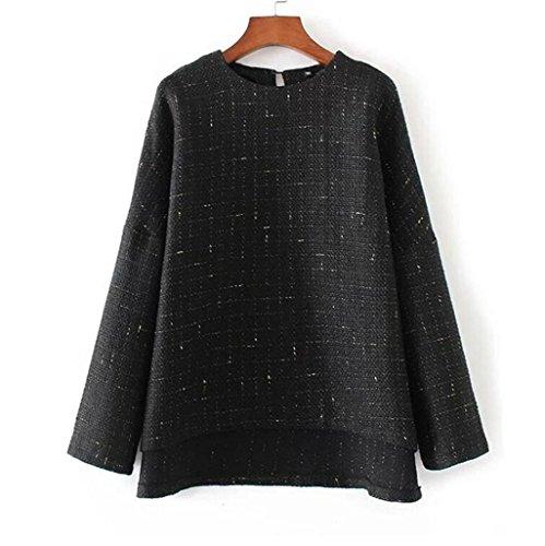 Byjia Retro Maglia Shirt Da Donna Maglia Casuale Girocollo Hollow Camicetta Pullover Allentato Top Manica Lunga A Cappotto Sportivo Slim . Black . S