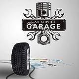 Auto servizio Garage parole Wall Sticker Auto bellezza negozio poster Auto Service Piston Wrench Motore a croce Meccanica Logo Decal E 56x56 cm